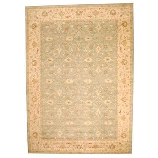 Herat Oriental Indo Hand-tufted Persian Isfahan Design Light Green/ Beige Wool Rug (10' x 14')