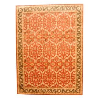 Herat Oriental Indo Hand-tufted Persian Isfahan Design Rust/ Olive Wool Rug (9' x 12')