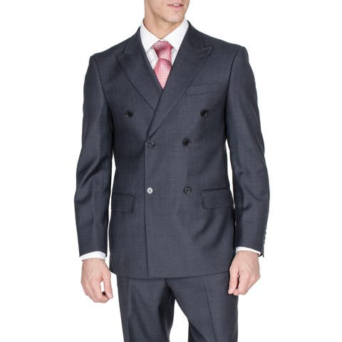Men's Dark Grey Double Breasted Modern Fit Wool Suit
