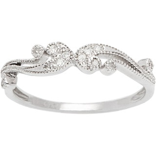 10k White Gold 1/6ct TDW Pave Diamond Vintage Style Ring