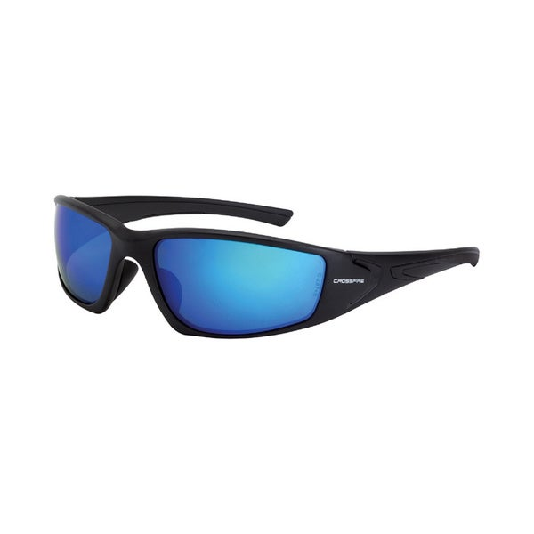 Crossfire Hardline Matte Black with HD Blue Mirror-Polarized