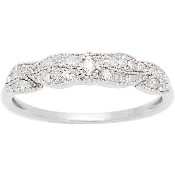 10k White Gold 1/6ct TDW Pave Diamond Vintage Style Ring