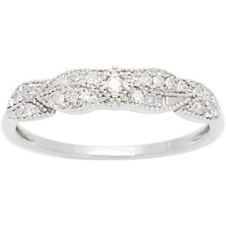 10k White Gold 1/6ct TDW Pave Diamond Vintage Style Ring (G-H, I1-I2)