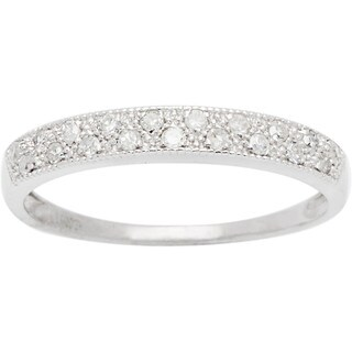 10k White Gold 1/4ct TDW Pave Diamond Band