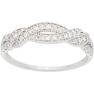 10k White Gold 1/3ct TDW Pave Diamond Bypass Ring (G-H, I1-I2)