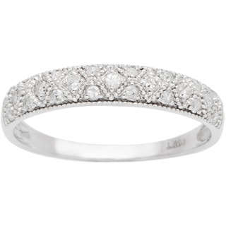 10k White Gold 1/3ct Lattice Pave Diamond Band (G-H, I1-I2)