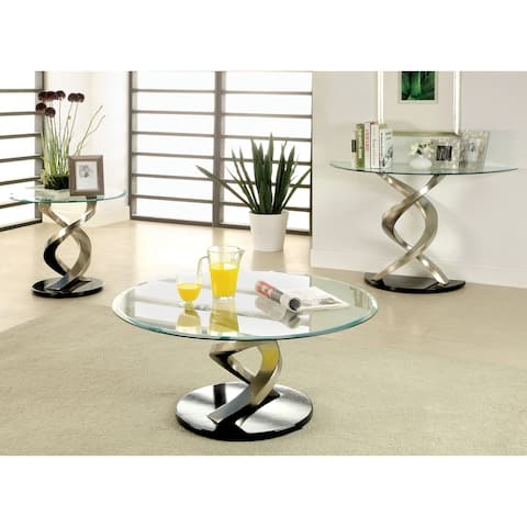 Furniture of America Sele Modern Silver Metal 3-piece Accent Table Set