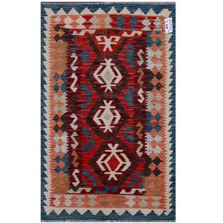Herat Oriental Afghan Hand-woven Tribal Kilim Rust/ Burgundy Wool Rug (3'3 x 4'11)