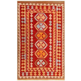 Herat Oriental Afghan Hand-woven Tribal Kilim Red/ Gold Wool Rug (3' x 5')