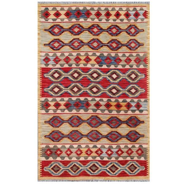 Handmade One-of-a-Kind Wool Kilim (Afghanistan) - 3'11 x 5'11