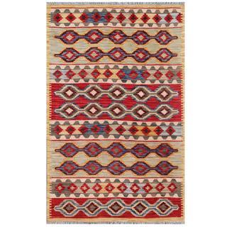 Herat Oriental Afghan Hand-woven Tribal Kilim Red/ Beige Wool Rug (3'11 x 5'11)