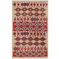 Herat Oriental Afghan Hand-woven Tribal Wool Kilim - 3'11 x 5'11