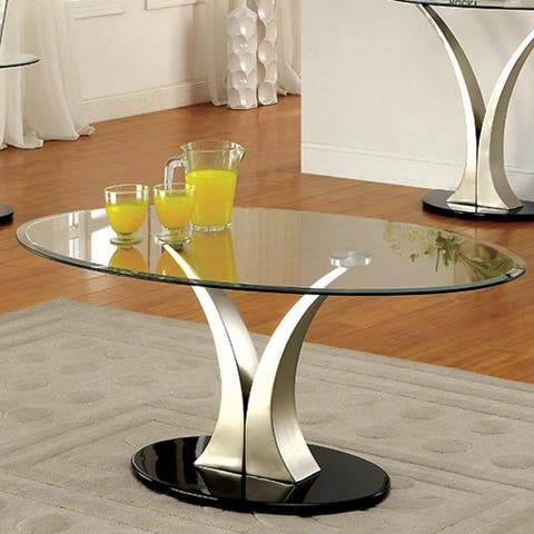 Furniture of America Wuct Modern Grey Metal Pedestal Coffee Table