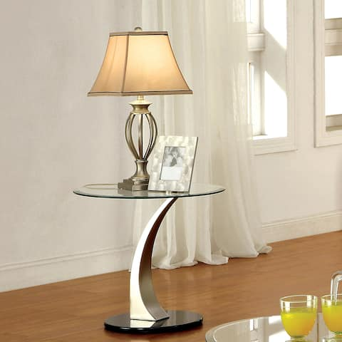 Furniture of America Velma Satin Plated End Table with Clear Glass Top
