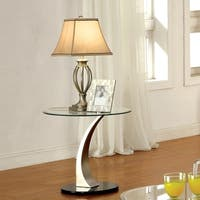 Furniture of America Velma Satin-plated Metal Modern End Table with Clear Glass Top