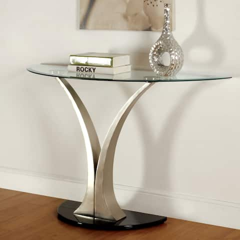 Furniture of America Wuct Modern Grey Metal Pedestal Sofa Table