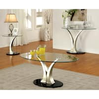 Furniture of America Velma Modern 3-Piece Accent Table Set - Silver