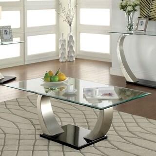 Furniture of America Odra Modern Silver Metal Curved Legs Coffee Table