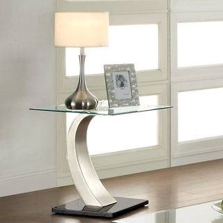 Furniture of America Odra Contemporary Silver Glass Top End Table