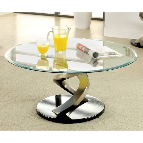 Furniture of America Sele Contemporary Silver Glass Top Coffee Table