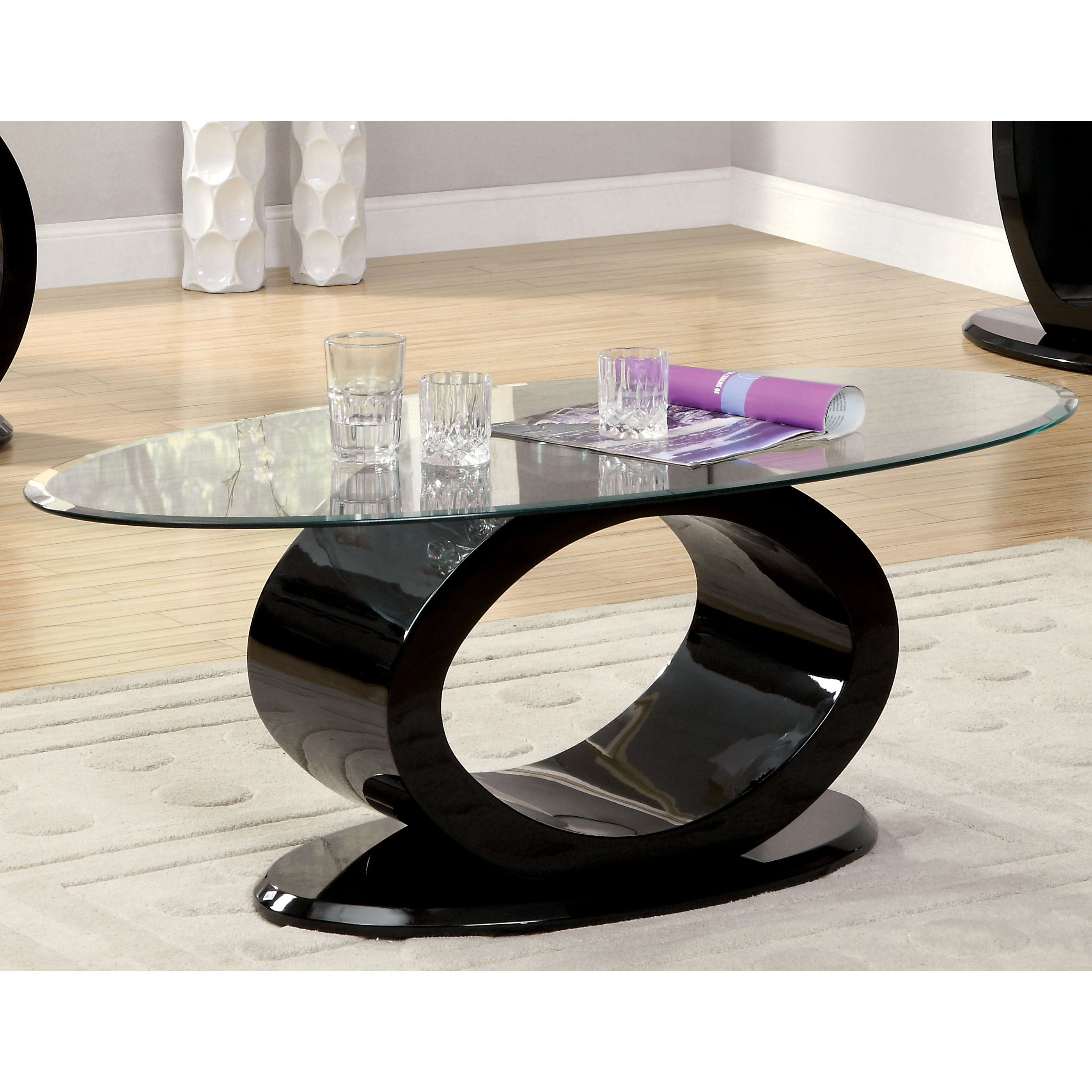 Furniture of America Opelle Modern O Shaped Coffee Table Free
