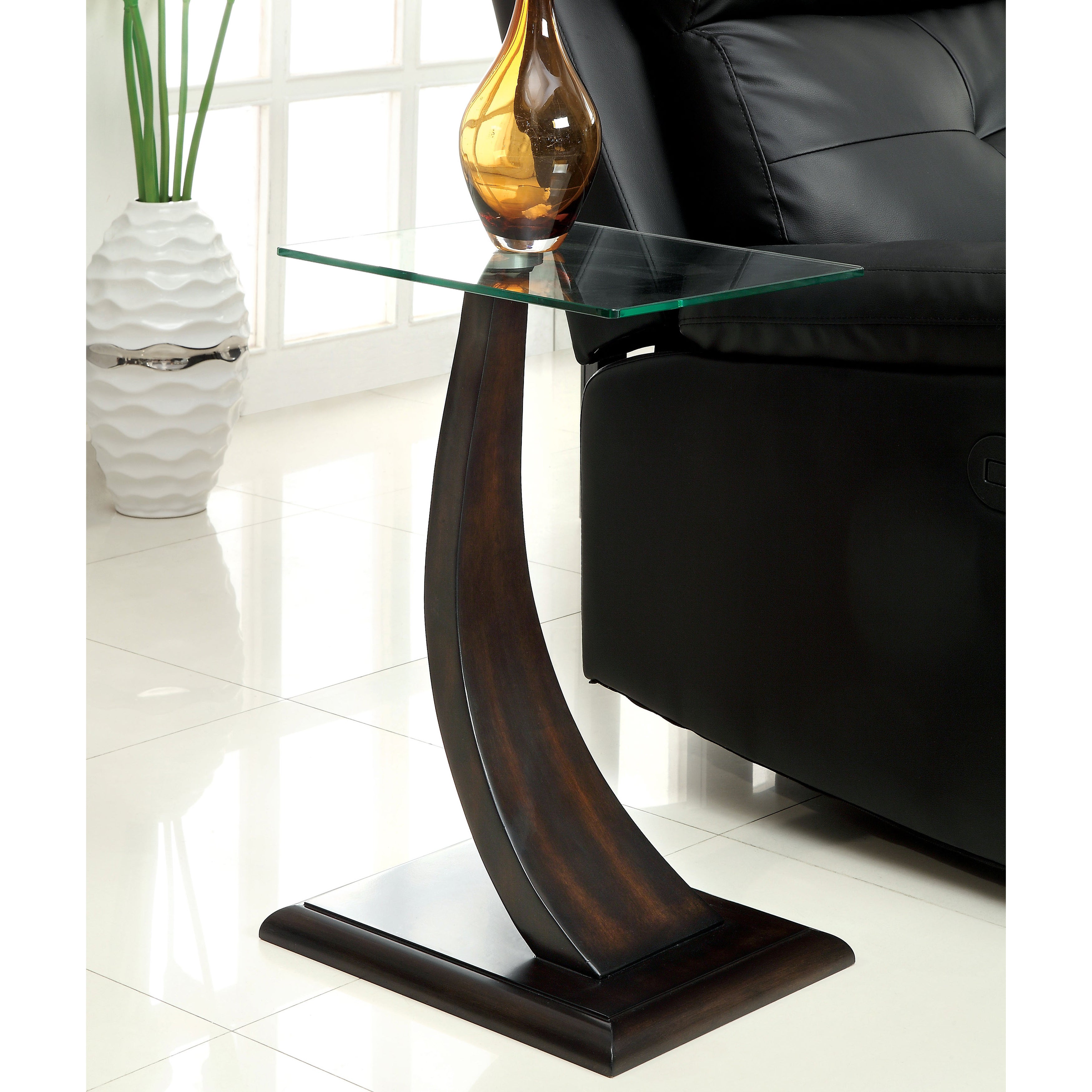 Furniture Of America Zai Contemporary Walnut Solid Wood Side Table