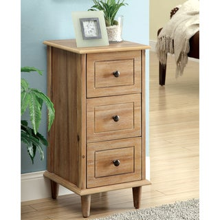 Furniture of America Launa Country Style 3-Drawer Side Table