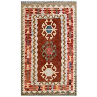 Herat Oriental Afghan Hand-woven Tribal Kilim Red/ Brown Wool Rug (3' x 4'11)