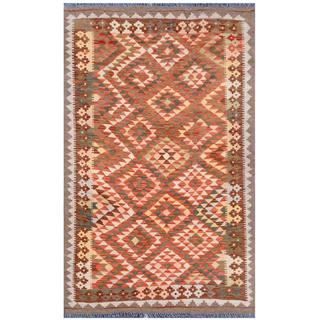 Herat Oriental Afghan Hand-woven Tribal Kilim Beige/ Brown Wool Rug (3'8 x 6)