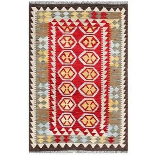 Herat Oriental Afghan Hand-woven Tribal Wool Kilim (3'3 x 5')