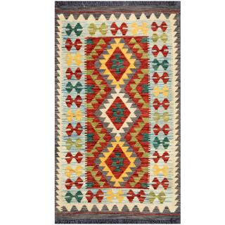 Herat Oriental Afghan Hand-woven Tribal Kilim Rust/ Light Blue Wool Rug (2'6 x 4'2)
