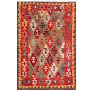 Handmade One-of-a-Kind Wool Kilim (Afghanistan) - 3'5 x 4'11