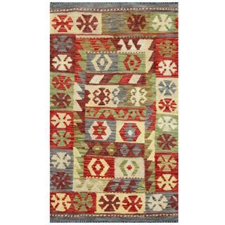 Herat Oriental Afghan Hand-woven Tribal Kilim Green/ Gray Wool Rug (1'11 x 3'2)