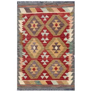 Herat Oriental Afghan Hand-woven Tribal Kilim Rust/ Gray Wool Rug (1'11 x 2'11)