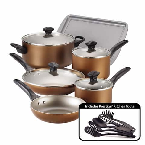 Farberware Dishwasher Safe Nonstick 15-Piece Cookware Set, Copper
