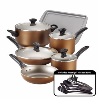 Farberware Dishwasher Safe Nonstick 15-Piece Cookware Set, Copper