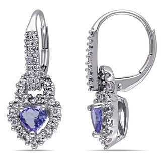 Miadora 14k White Gold Tanzanite, White Sapphire and 1/5ct TDW Diamond Heart Earrings (G-H, I1-I2)