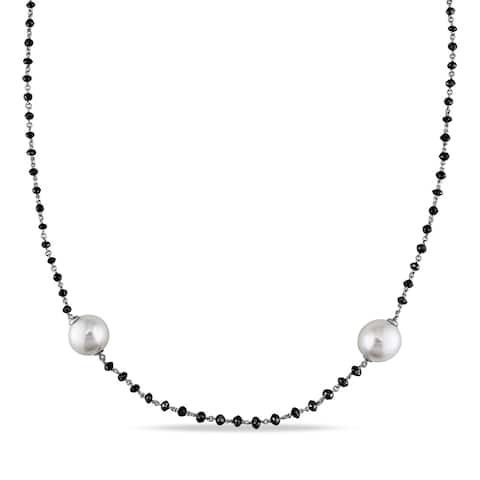 Miadora 14k White Gold South Sea Pearl 34 3/4ct TDW Black Diamond Necklace (11-12 mm) - Black/White