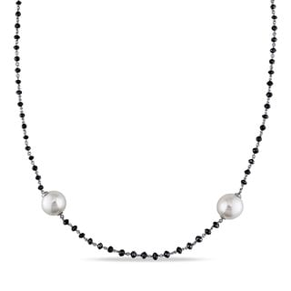 Miadora 14k White Gold South Sea Pearl 34 3/4ct TDW Black Diamond Necklace (11-12 mm)