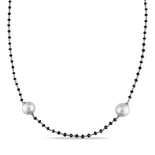 Miadora 14k White Gold South Sea Pearl 34 3/4ct TDW Black Diamond Necklace (11-12 mm)