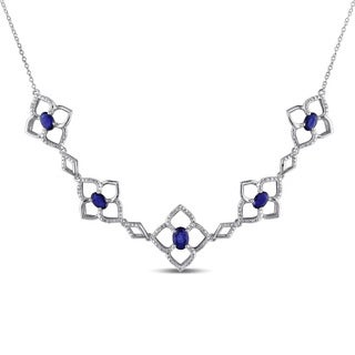 Miadora Sterling Silver Sapphire 1/6ct TDW Diamond Necklace (G-H, I2-I3)