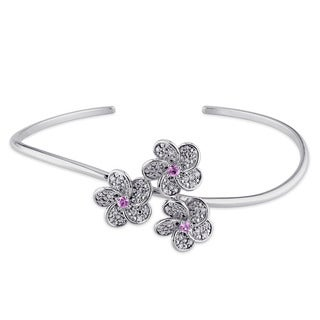 Miadora Signature Collection 14k White Gold Pink Sapphire 1/4ct TDW Diamond Bangle (G-H, SI1-SI2)