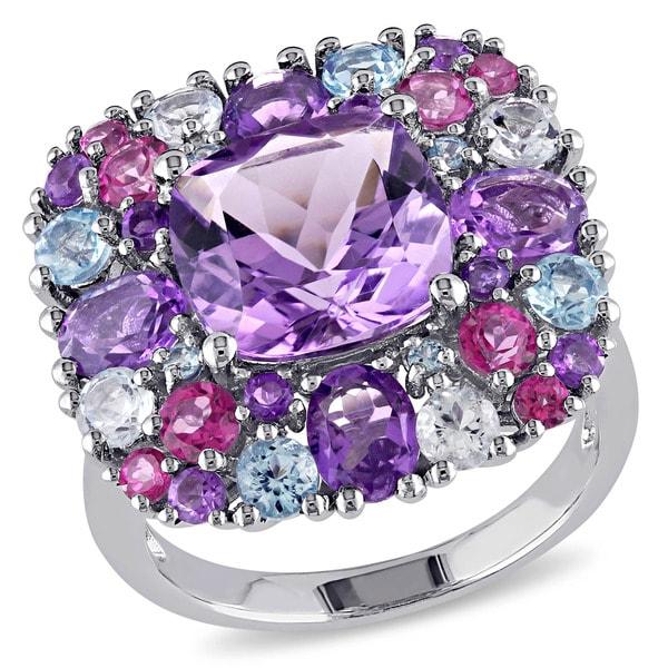 Shop Miadora Sterling Silver Amethyst Topaz Diamond Accent