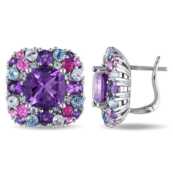 Miadora Sterling Silver Amethyst and Topaz Earrings