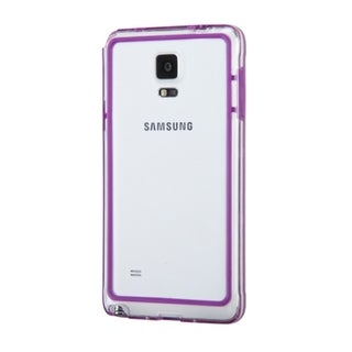 Insten Purple/ Clear TPU Rubber Candy Skin Bumper Frame For Samsung Galaxy Note 4