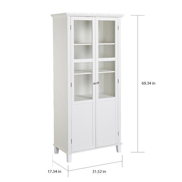 Shop Homestar 69 Inch Wood And Glass 2 Door Pantry Storage Cabinet