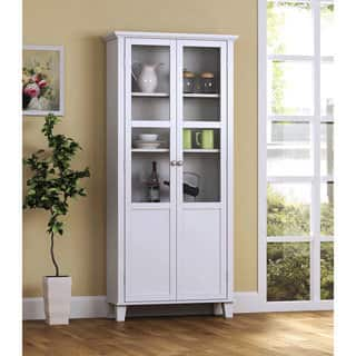 "Wood and Glass 2-Door Storage Cabinet (69"")