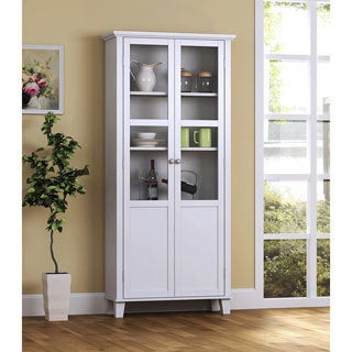 homestar 69 inch wood and glass 2 door pantry storage cabinet wood kitchen  u0026 pantry storage for less   overstock com  rh   overstock com