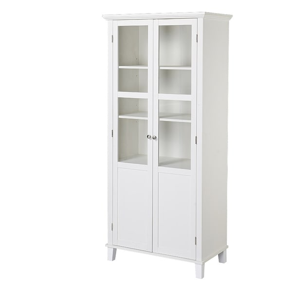 Homestar 69-inch Wood and Glass 2-Door Pantry Storage Cabinet