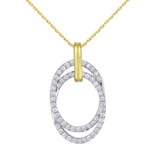 Beverly Hills Charm 10k Gold 1/3ct TDW 'Together Forever' Interwined Ellipse Diamond Necklace (H-I, I2-I3)